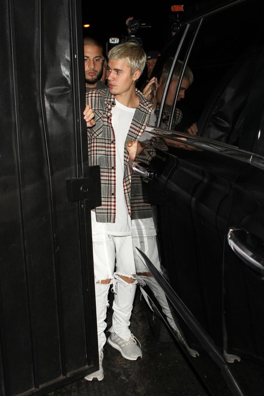 310cb1395 Justin Bieber wearing Adidas Ultra Boost Limited Cream Chalk and Fear of  God Sleeveless Flannel