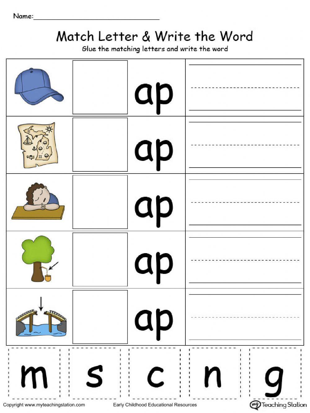 Cvc words Interactive worksheet in 2020 Kindergarten