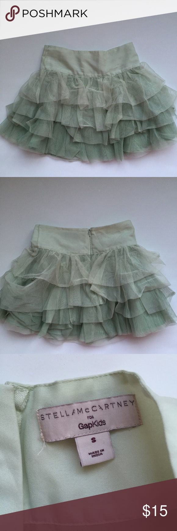 Gap Skirt Beautiful light green tiered skirt from Stella McCartney's gap kids line. Has a small tear on the back (see last pic) but is barely noticeable when worn. Gap Bottoms Skirts