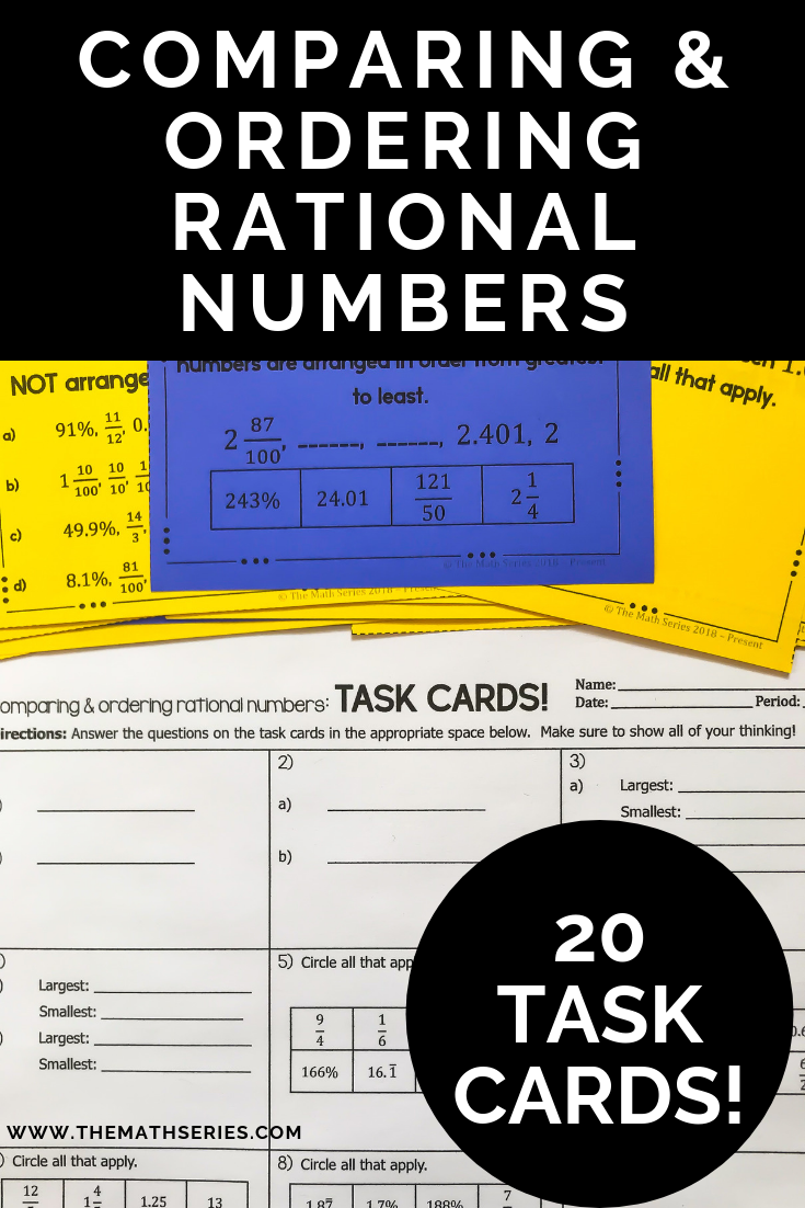 Comparing and Ordering Positive Rational Numbers Task