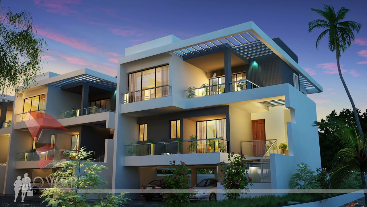 Contemporary township 3danimation 3drendering modern houses contemporary style villas