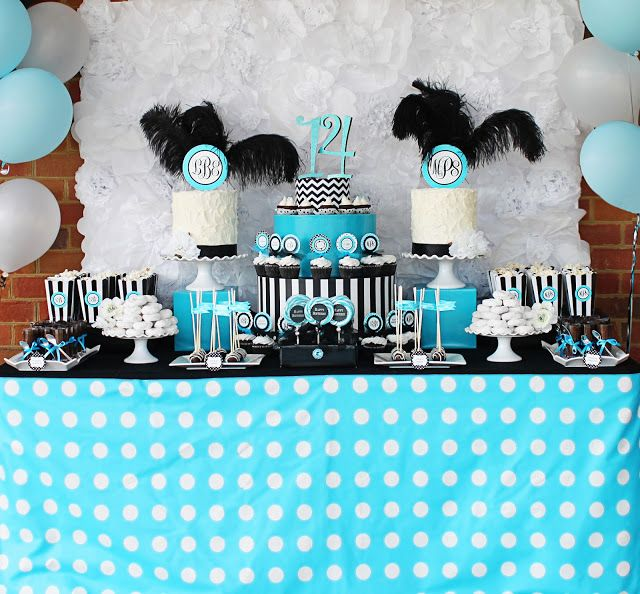 Turquoise and Black party Would be great for a girls 13th birthday
