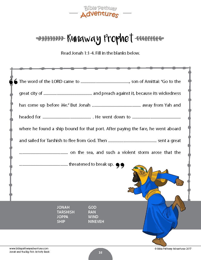 Jonah and the fish bible activity book printable bible activities