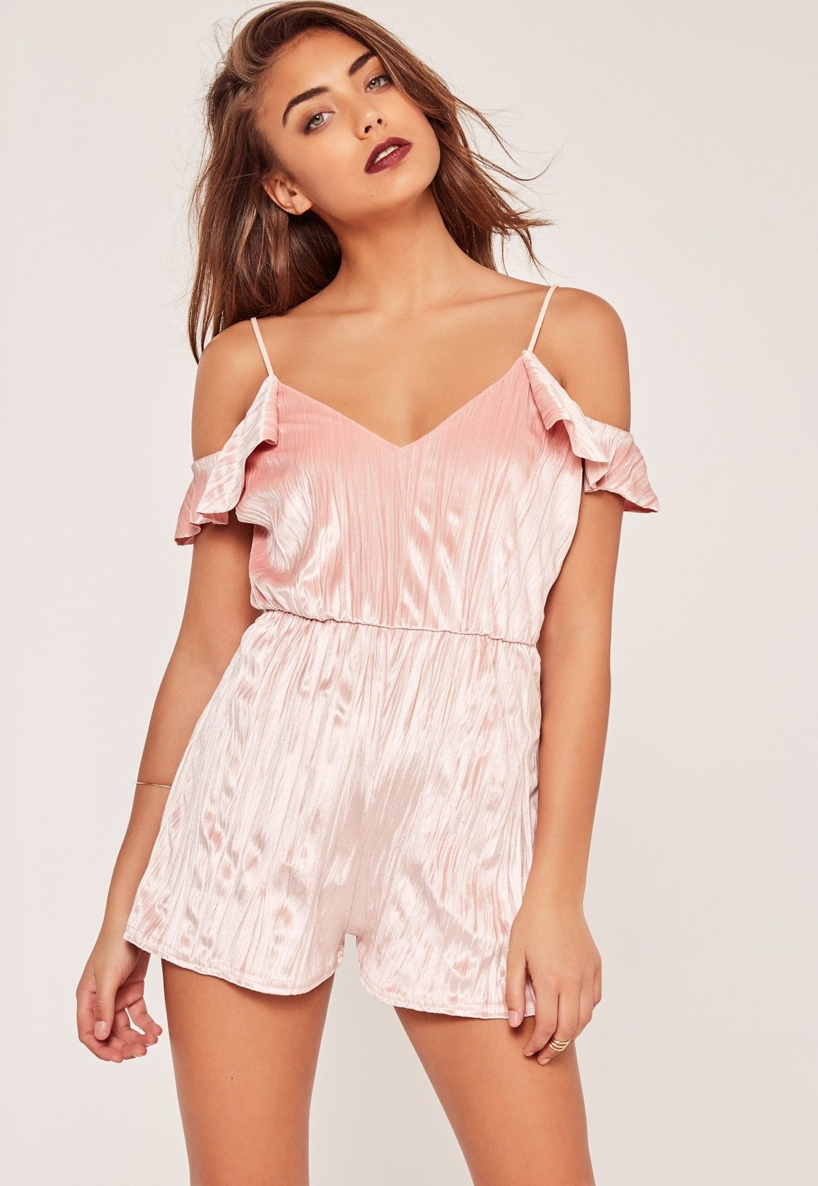 bc55538bc2 Missguided - Pleated Velvet Frill Cold Shoulder Sleeve Playsuit Pink ...