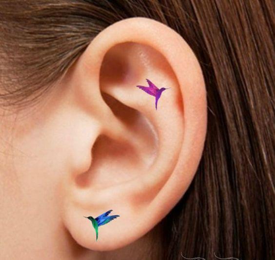 Hummingbird Tattoos On Ear Behind Ear Tattoos Small Colorful Tattoos Helix Tattoo Ideas
