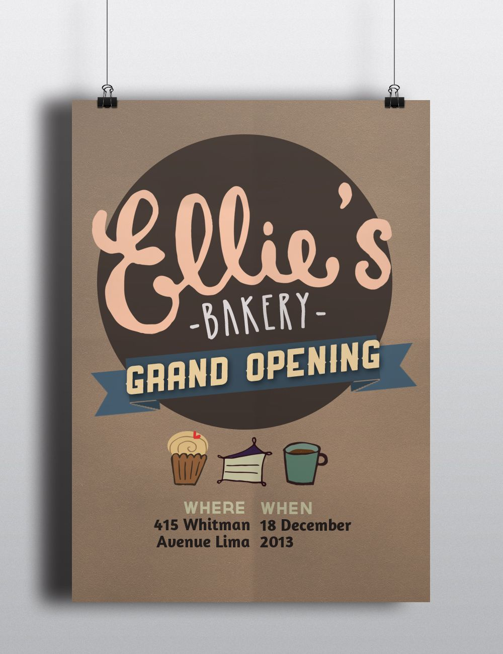 EllieS Bakery Grand Opening Poster  Lovely Shop