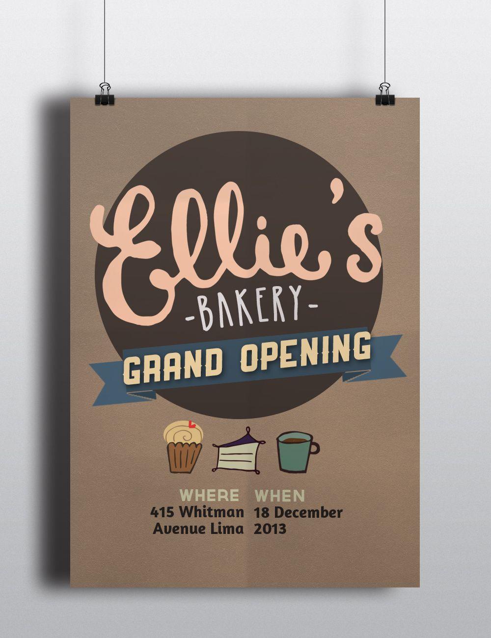 Zara poster design - Ellie S Bakery Grand Opening Poster