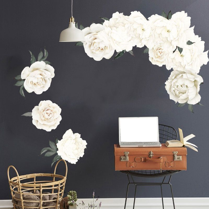 Peony Flowers Luxury Wall Stickers Art Home Decor PVC Removable Vinyl Decal  WH