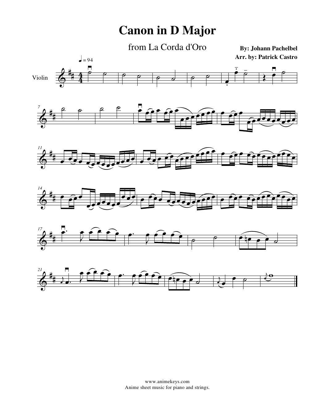 1st Violin Sheet Music For Canon In D Major From La Corda D Oro