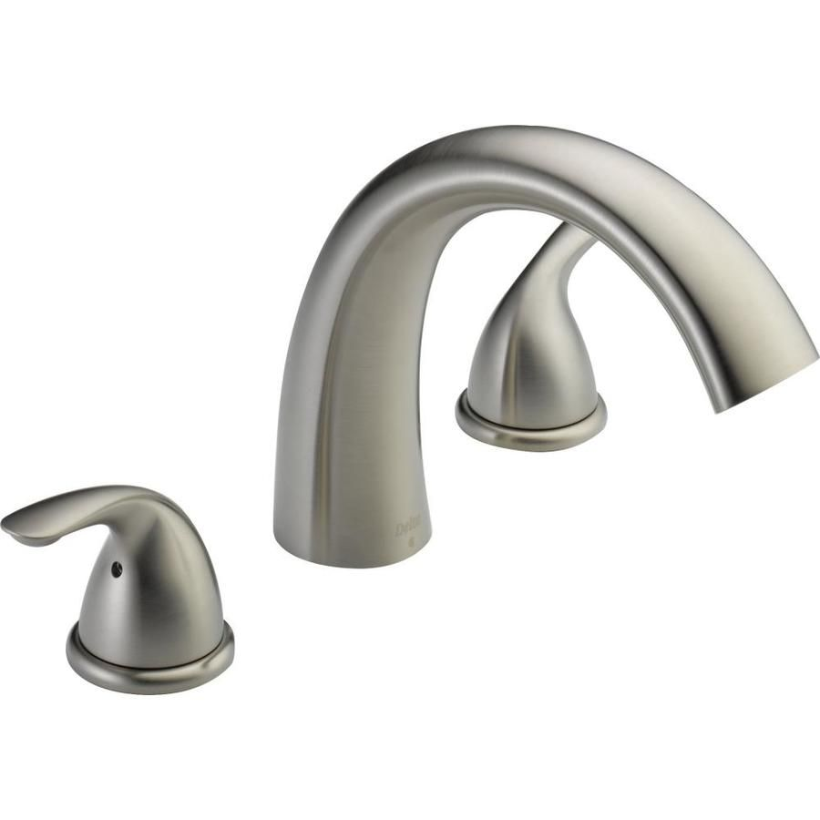 Delta Stainless 2 Handle Deck Mount Bathtub Faucet With Images