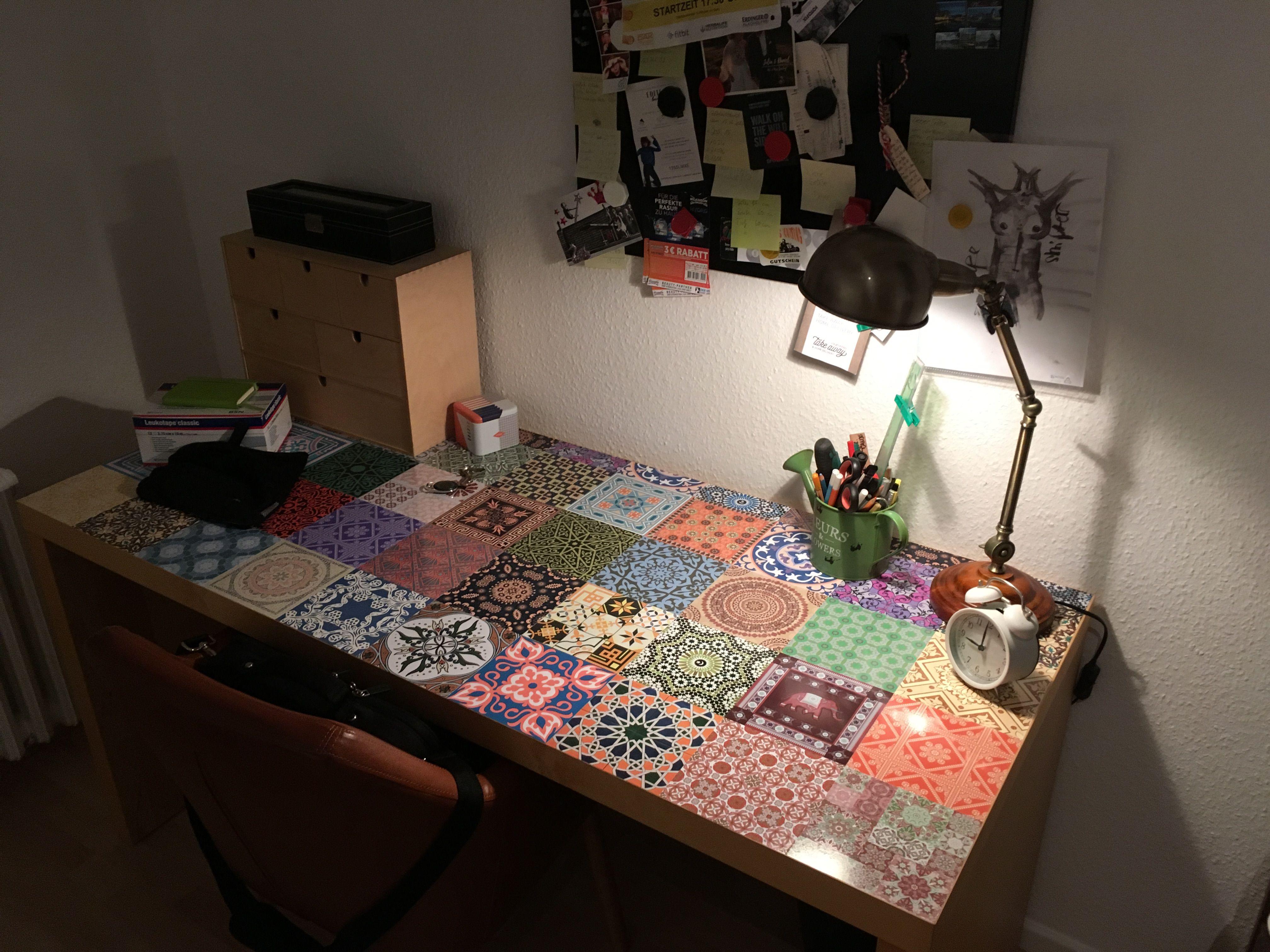 malm tisch trifft auf mosaikfolie // malm desk meets mosaic foil