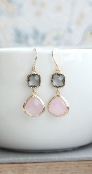 Pink and Grey Earrings. Pink Opal Ice Pink, Gold Framed Gray Glass Dangle Earrings. Wedding, Bridal Bridesmaids Gift. Pink and Grey Wedding By Marolsha. https://www.etsy.com/listing/180643901/pink-and-grey-earrings-pink-opal-ice?ref=shop_home_active_2&ga_search_query=pink%2Bgrey%2Bearrings