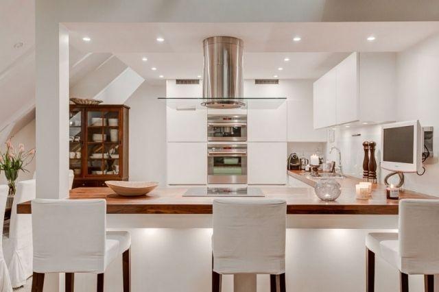 l-küche weiß-küchenarbeitsplatte Holz-maserung warmer Holzton - weisse kueche mit kochinsel