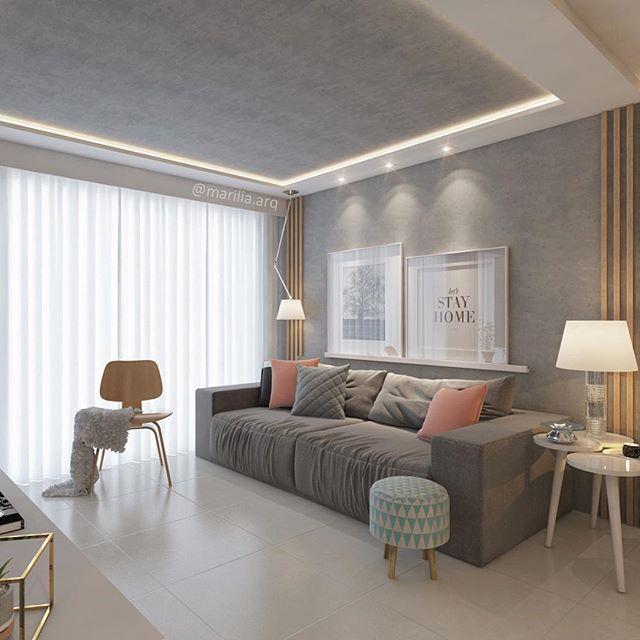 Sala de estar a textura de concreto aparente aplicada na - Sala de estar ...
