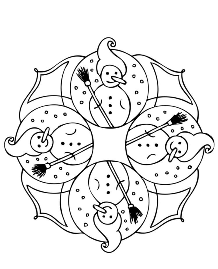 snowman winter coloring pages (with images) | mandala