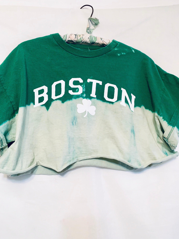 Upcycled Boston Celtics Cropped Hoodie\u2014Medium