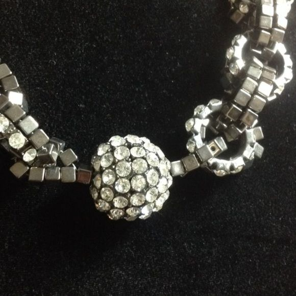 Statement Chain Link Necklace! Necklace Set With a Rhinestone Ball attached with cool chain. This piece says it all!!! Jewelry Necklaces