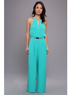 b6a2f3e49818 Vince Camuto Sleeveless V-Neck Jumpsuit w  Metal Belt