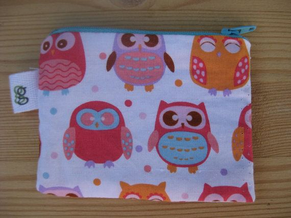 Padded Zip Pouch purse Gadget Coin Case - Valentines day Owls Just listed