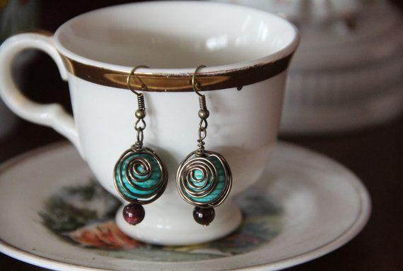 Wire wrapped dangle earrings by BonnieJaneLane on Etsy, $10.00