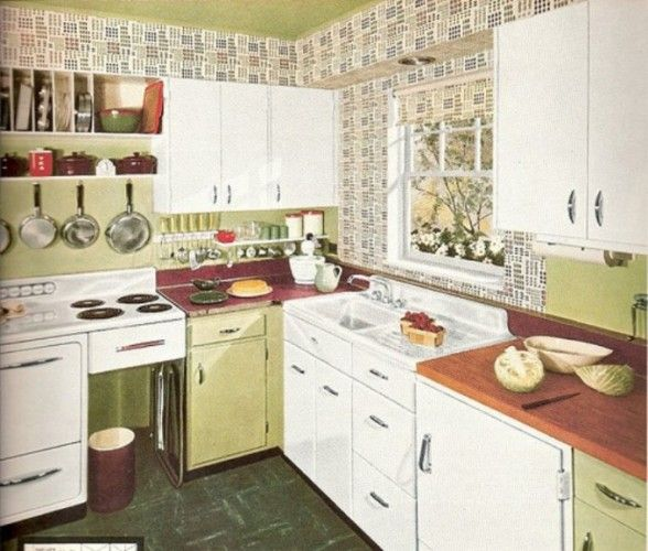 Kitchen Cabinets Sets Wall Mount Faucet With Sprayer Mosaic Vintage Tile White Combined By Green Also Cutlery C 1960