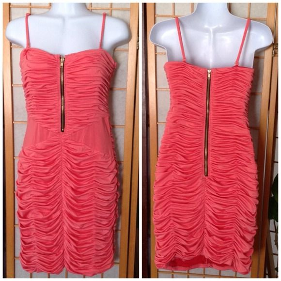 """NWT Beautiful Ark & Co Fully Lined Cocktail Dress. New Never Used Beautiful Ark & Co Cocktail Dress. Salmon Color. Can wear like tube dress or with straps. Adjustable & Removable Straps. 29"""" Length from Bustline. 14 1/2"""" Bustline. 13"""" Waistline. 17"""" Hips. Very Strechy. ark & co Dresses Prom"""