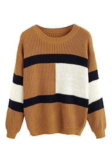 Damen Patchwork Strick Pullover Pulli Sweater Langarm Sweatshirt Jumper Oberteil