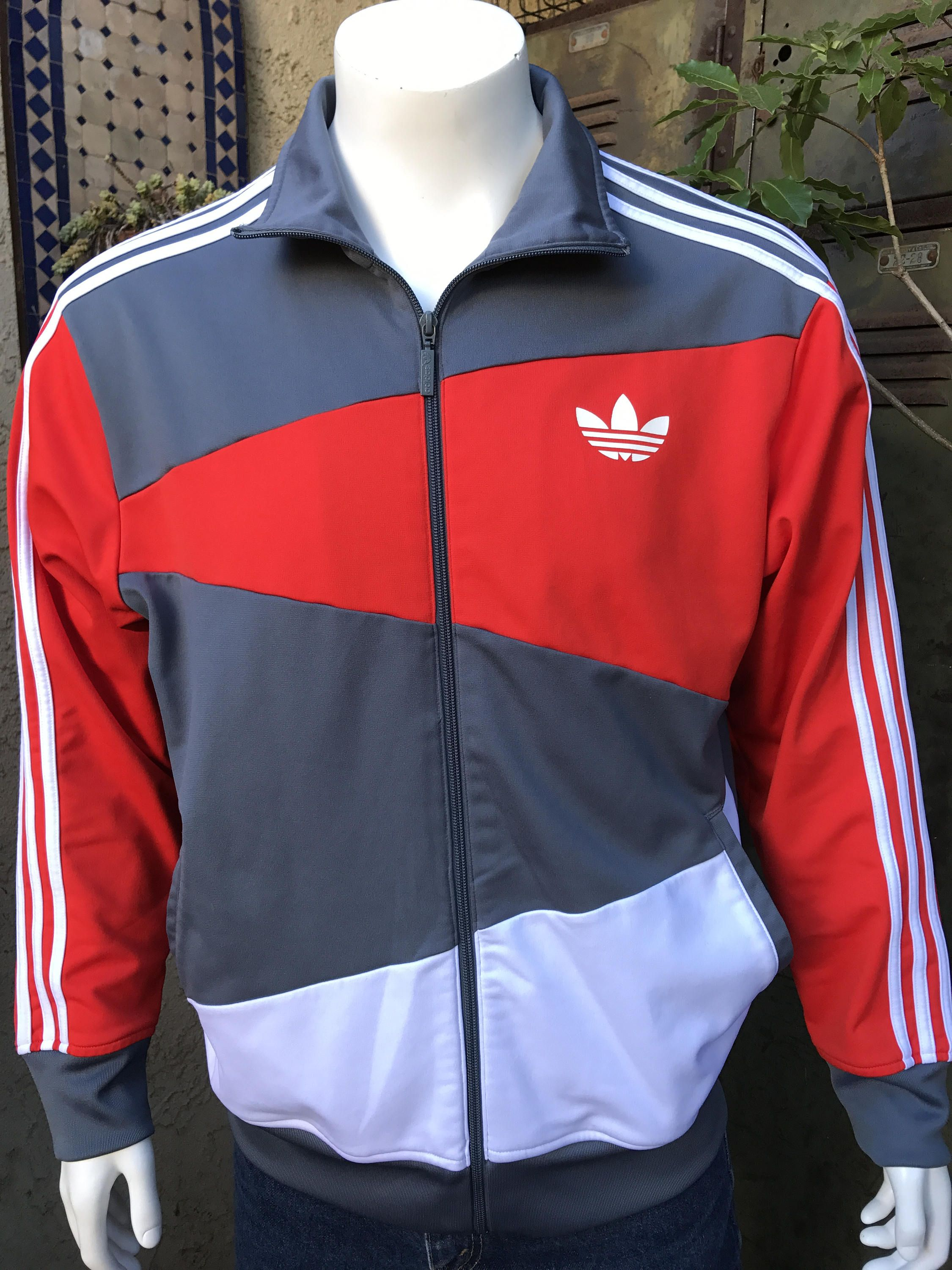 80 S Adidas Men S Track Warm Up Jacket Size Large Retro Red White