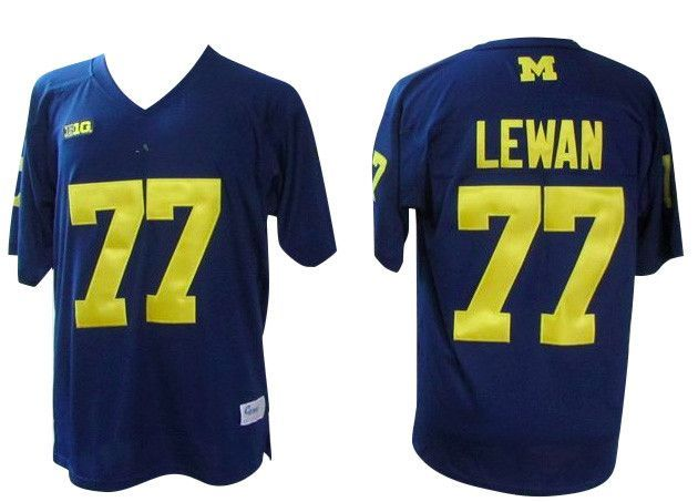 wholesale dealer d682a 6355e Michigan Wolverines #77 Taylor Lewan College Football Jersey ...