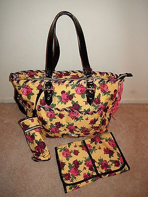 Betsey Johnson Betseyville Le Toes Baby Diaper Bag Yellow Tote 3 Pc New