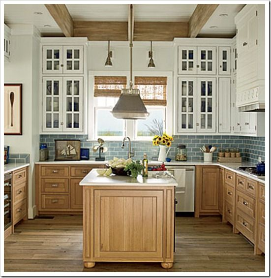 Country Kitchen With Maple Shaker Cabinets And Terra Cotta: East Beach Idea House Tour