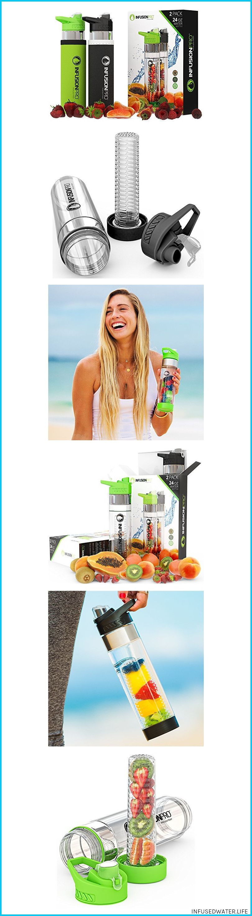 d1071007a3 Inclusive Inner Strainer/ Fi#detox Infusion Pro Premium Fruit Infused Water  Bottle (2 Pack or 1 Pack) Insulating Sleeves and Flavored Water Recipe eBook  ...