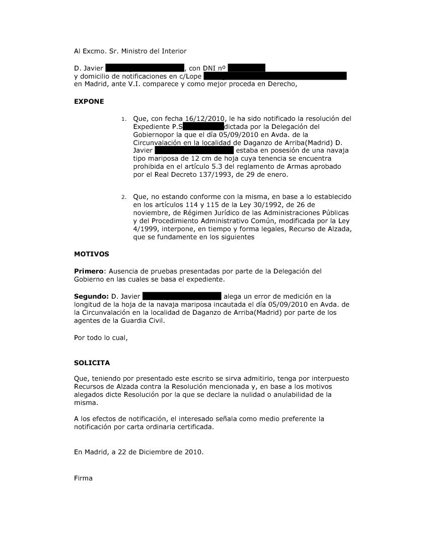 10 documentos de los ciudadanos recurso de alzada for Notificacion ministerio del interior