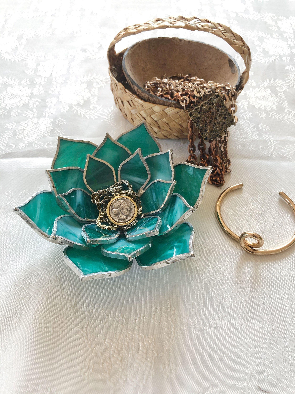 Glass succulent wedding ring holder Wedding candle holder