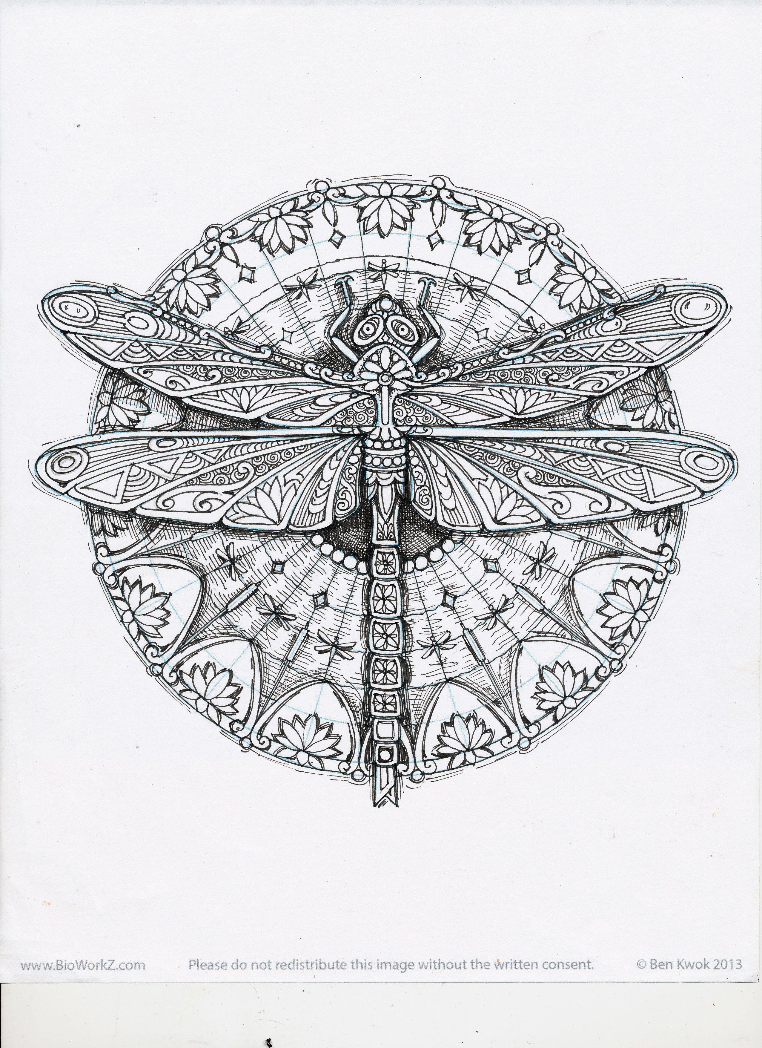 Dragonfly - Ornation Creation - art by Cindy Lysonski | Mandalas ...