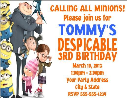 Despicable me party invitations party ideas pinterest party personalized despicable me minions birthday party invitations filmwisefo Gallery