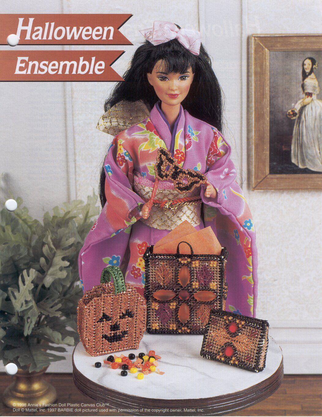 Formal Fireside Decor ~ fits Barbie doll Annie/'s plastic canvas pattern leaflet