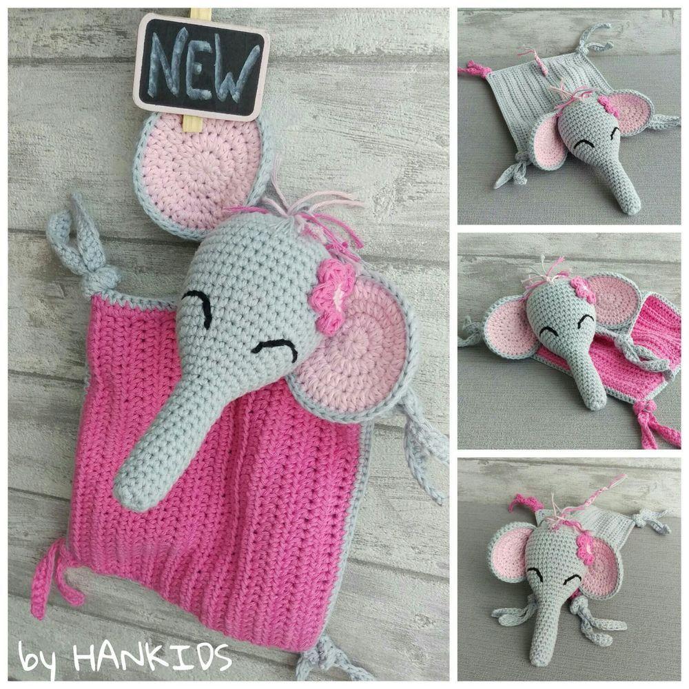 Schnuffeltuch Elefant - Häkelanleitung | Schnuffeltuch, Elefanten ...