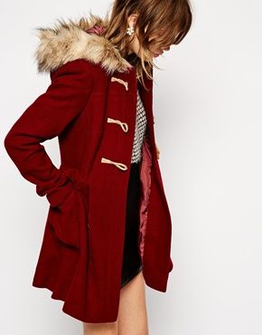 Enlarge ASOS Faux Fur Hooded Duffle Coat | Clothes | Pinterest ...