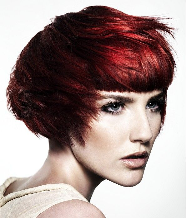 Womens Hairstyles Short Red Straight Coloured Choppy Definedfringe Womens Haircut