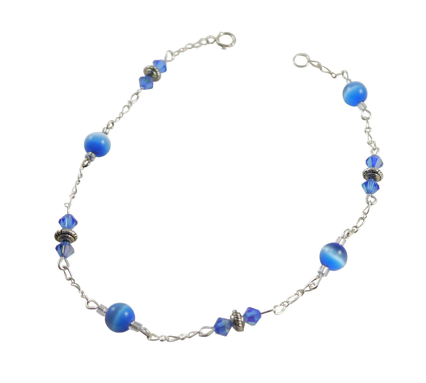 Vivid Sky Blue Cat S Eye Anklet 9 5 Sterling Silver