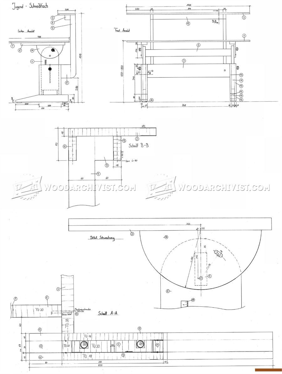 medium resolution of  1943 study desk plans furniture plans