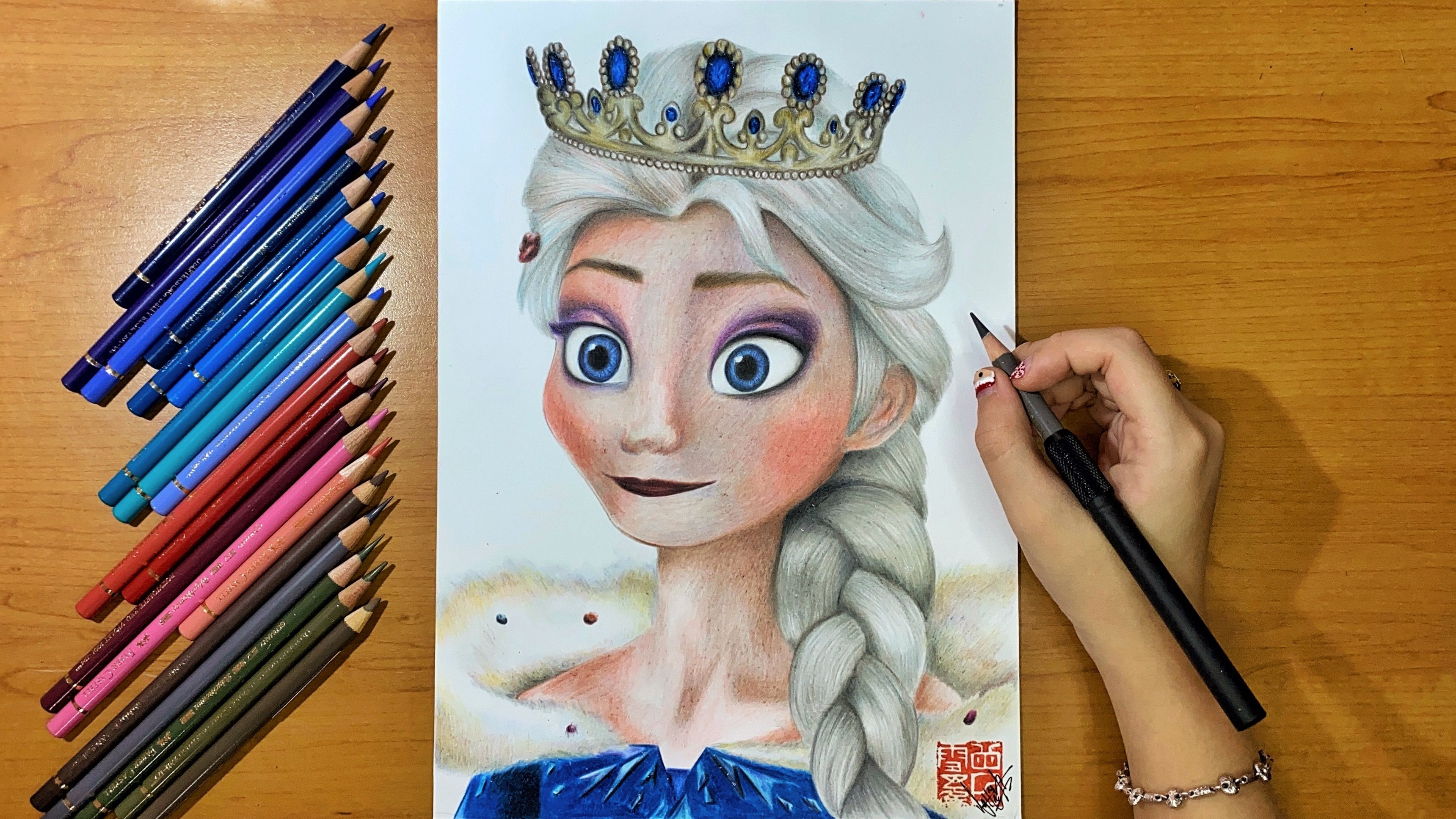 Drawing Frozen 2 Elsa The Snow Queen Silvy Tjan Youtube Snow Queen Drawings How To Draw Hands