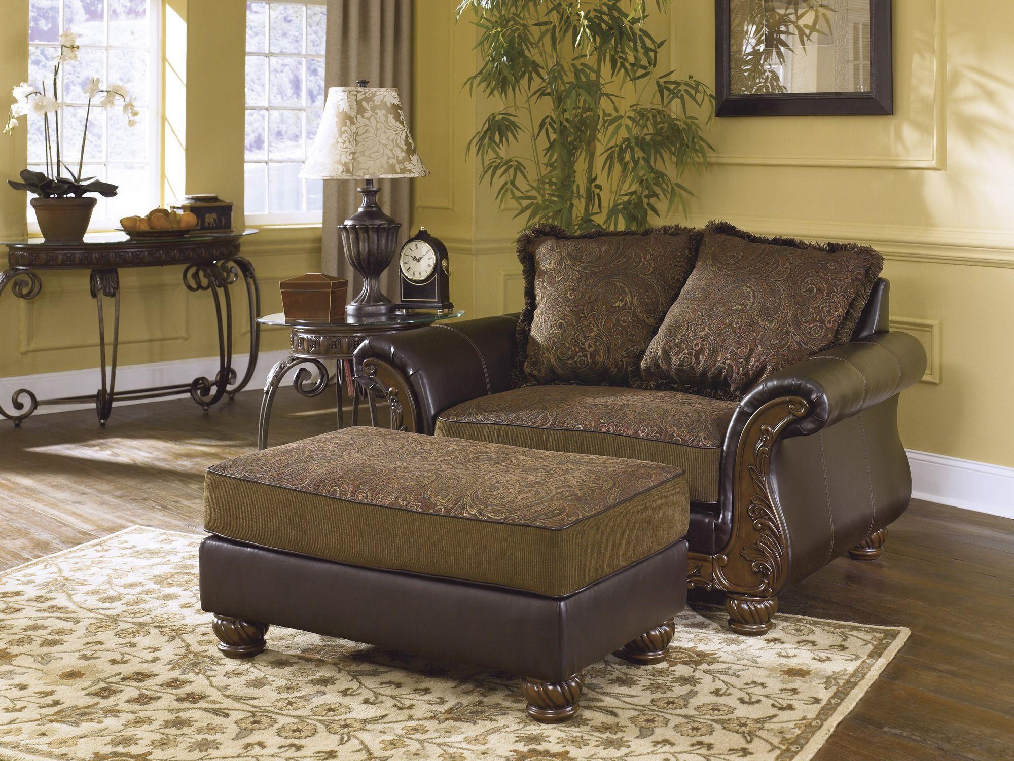 3460223 signature by ashley wilmington walnut chair and a half walnut big sandy