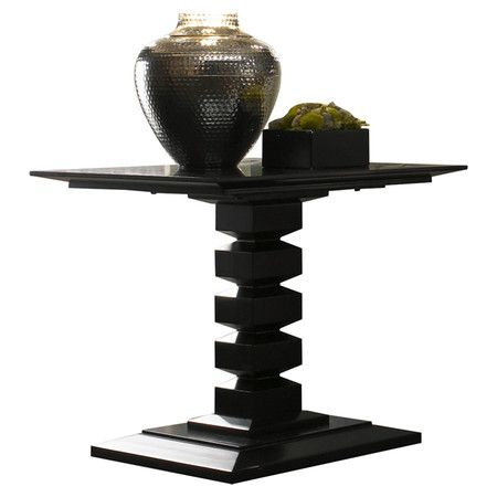 Best Cherry Wood End Table With Geometric Pedestal Base 400 x 300
