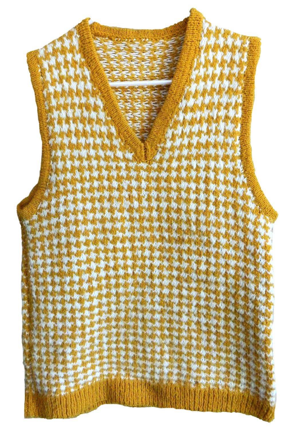 vintage mens womens v-neck yellow and white houndstooth sleeveless ...