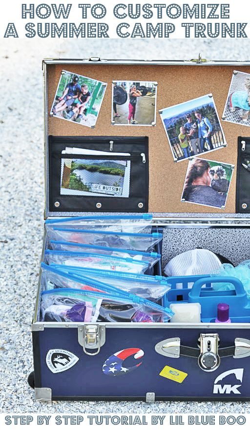 Diy camp trunk organizer how to customize and organize an epic summer camp trunk summer camp trunk decorating ideas michaelsmakers lil blue boo