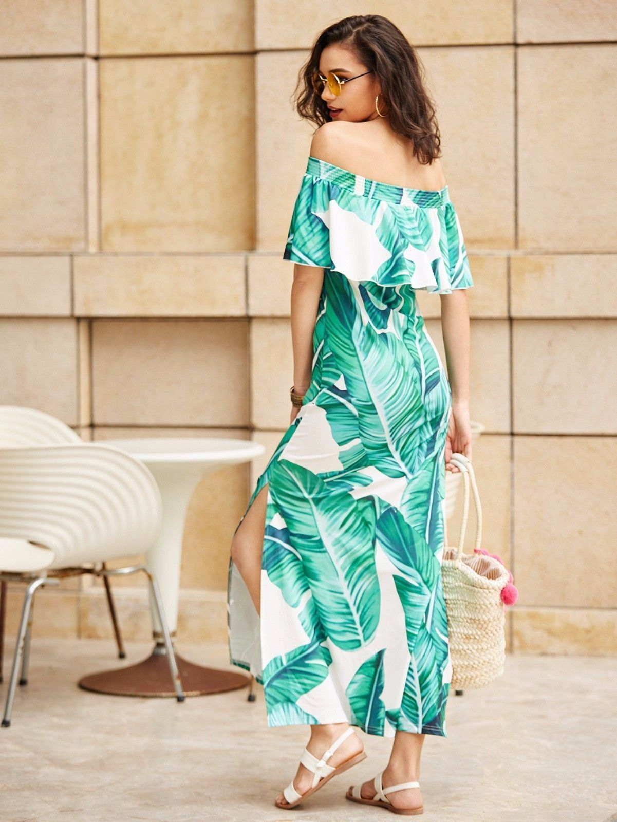 0d4790bc0a91 Green Palm Leaf Print Side Slit Flounce Off Shoulder Bardot A Line Maxi  Dress