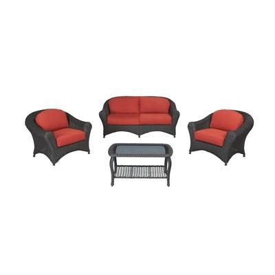 martha stewart living lake adela alum woven 4pc deep seating set red cushions fra62036st spice home depot canada