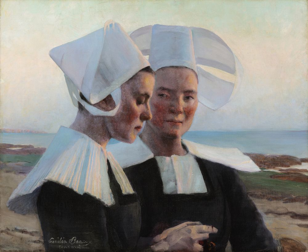 """""""Twilight Confidences,"""" Cecilia Beaux, 1888, oil on canvas, 23 1/2 x 28"""", Collisart, LLC.  There are studies for this painting at the Pennsylvania Academy of the Fine Arts."""